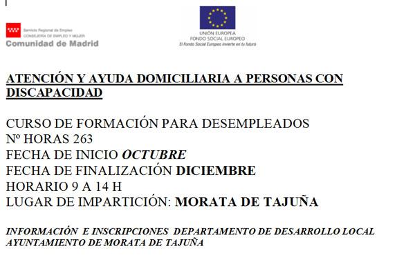 Curso para Atención y Ayuda Domiciliaria a Personas con Discapacidad en Morata