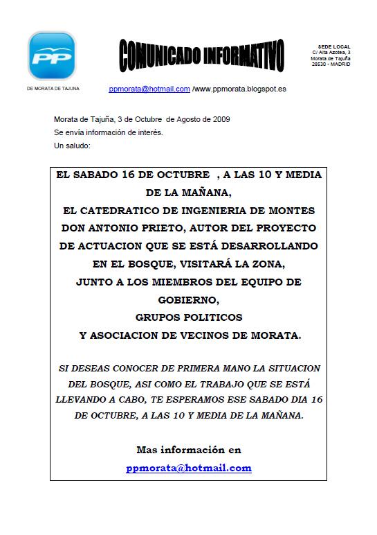 Estado del Proyecto de Actuaciones en el Bosque de Morata